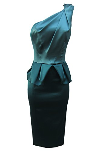 Karen Millen Satin Peplum One Shoulder Celebrity Dress - DP152 (UK 10 / EU 38 / US 6, Teal): Amazon.co.uk: Clothing