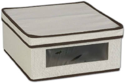 Household Essentials Vision Natural Canvas Storage Box, Brown Trim