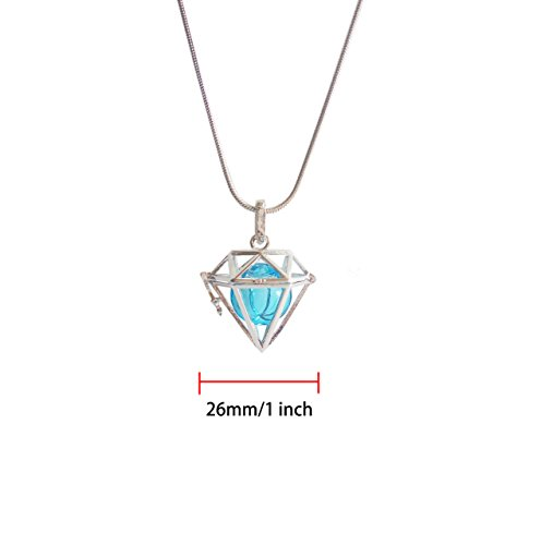 Diamond Pattern Aroma Essential Oil Diffuser Necklace Locket Pendant Gift Set,Diamond Locket Pendant Pefume Bottle Necklace With 24