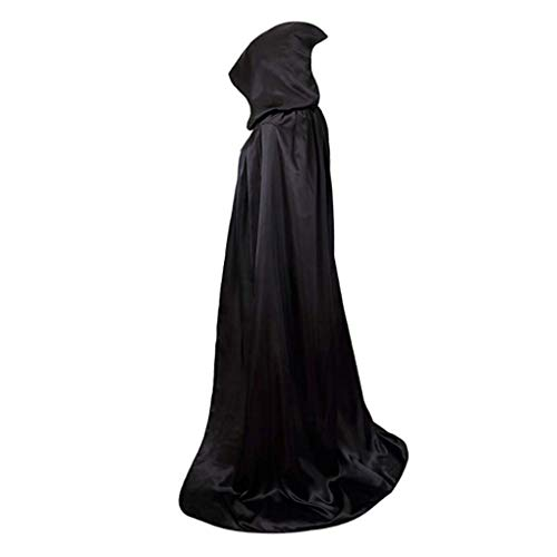 (Dulynn Hooded Full Length Cloak Adult Halloween Party Cosplay Costume Wizard Witch Cape Princess Medieval)