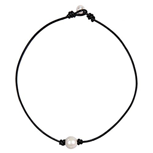 Pearl Choker Necklace for Women | Single Freshwater Cultured Aobei Pearl Pendant and Black Leather (24k Elephant Earrings)
