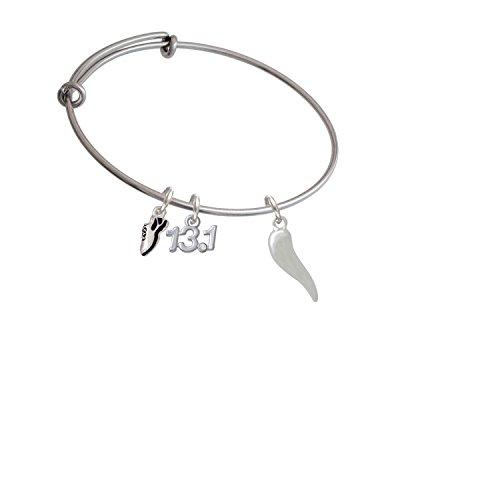 Silvertone Good Luck Italian Horn Running Shoe and 13.1 Expandable Bangle Bracelet
