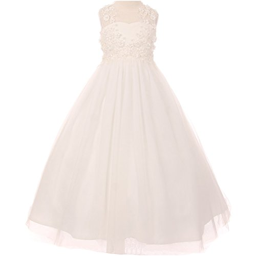 Big Girls Illusion Flower Hand Beaded Lace and Soft Tulle A-Line Sleeveeless Girl Dress Ivory - Size 8 by CrunchyCucumber