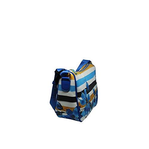 Manie Media Donna Tracolla Borsa flower Blu Bag Dakota Dt029 FqrIFxawS