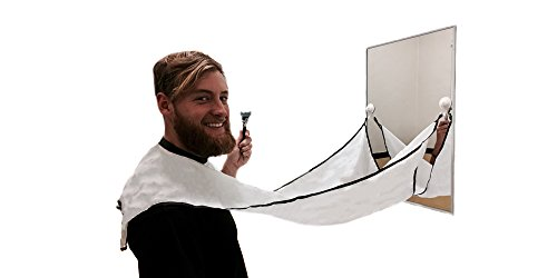 Tribex Premium Beard Catcher  Trim Your Facial Hair Without The Mess  Easy To Use Grooming Bib Cape For Shaving  The Apron For The Modern Woodsman  White