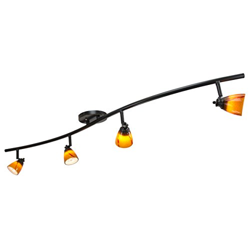 (Direct-Lighting 4 Lights Fixed Track Lighting Kit - Dark Bronze Finish - Amber Glass Shade - Wave Bar - D268-44C-DB-AMS)