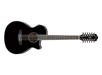 Ibanez acústica de 12 cuerdas guitarra eléctrica aeg1812ii BK Negro ...
