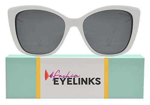 (Be One Women Cat Eye Oversized Design Sunglasses- Polarized UV400 Classic Retro (White + Smoke Lens))