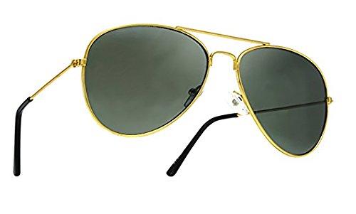 Unisexe 4sold effet Aviator soleil Brown Verres Protection UV années 400 de style 70 Étui miroir aviateur inclus unique Taille Lunettes Gold pOqprwB