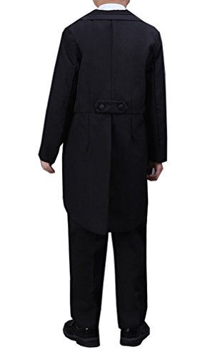 85e64427509f YUFAN Boys Black White 5 Pieces Tuxedo Suits with Tail Tailcoat Vest Pants  Shirt Bow