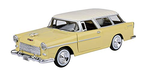 1955 Chevy Bel Air Nomad, Yellow - Motormax 73248 - 1/24 scale Diecast Model Toy Car