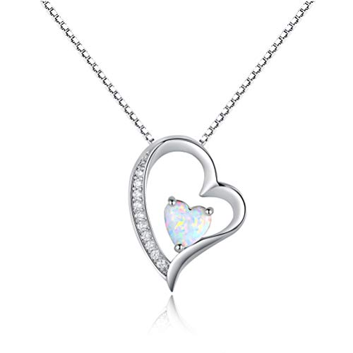OPALBEST Heart Fire Opal Pendant Necklace Halo CZ White Gold Plated for Women Girls 18.5Inch