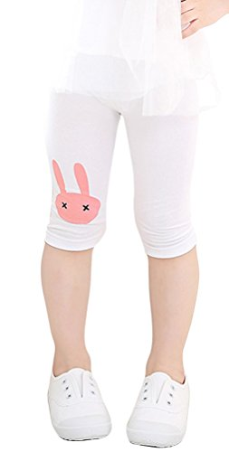 EachEver Girls Lovely Rabbit Calf-Length Pants Cotton Stretch Summer Shorts Leggings 3-9Y White (Lovely Cotton Short)