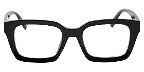SOOLALA Retro Desinger 47mm Large Lens Square Reading Glass Big Eyeglass Frame, Black, ()