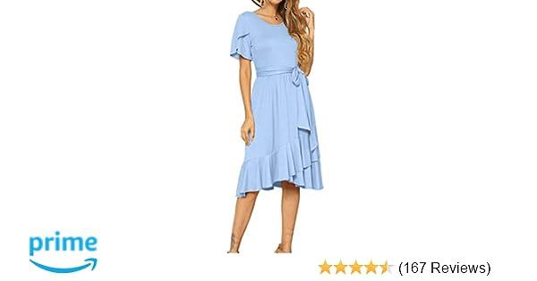 edb27560510c levaca Women's Plain Casual Flowy Short Sleeve Midi Dress with Belt at  Amazon Women's Clothing store: