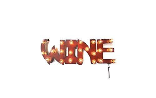Wine Marquee Lighted Sign vintage-inspired made out of Rusted Steel
