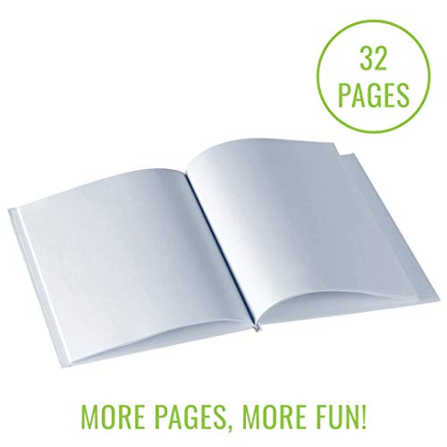 White Blank Book (Pack of 12) - 6'' W x 8'' H Hardcover with Unlined White Pages - 32 Pages (16 sheets) per book for Kids, Students, Adults and All Ages, Use for Creative Sketches, Children's Writing. by Blank Books (Image #3)