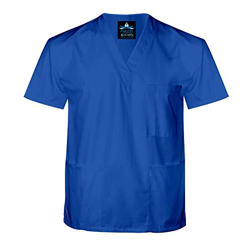 MAZEL UNIFORMS Mens Classic V-Neck Scrub TOP-Runs Large- Plus Royal -