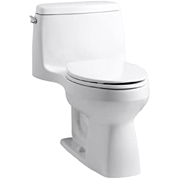 KOHLER 3810-0 Santa Rosa Comfort Height Elongated 1.28 GPF Toilet with AquaPiston Flush Technology and Left-Hand Trip Lever, White