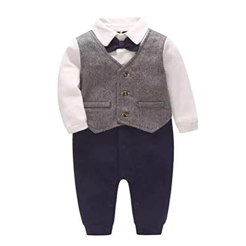 - Baby Boy's One Piece Long Sleeve Gentleman Formal Outfit,Grey,12-18M