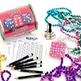 Bunco Game Kit Pail with Bonus DICE Mardi Gras Beads