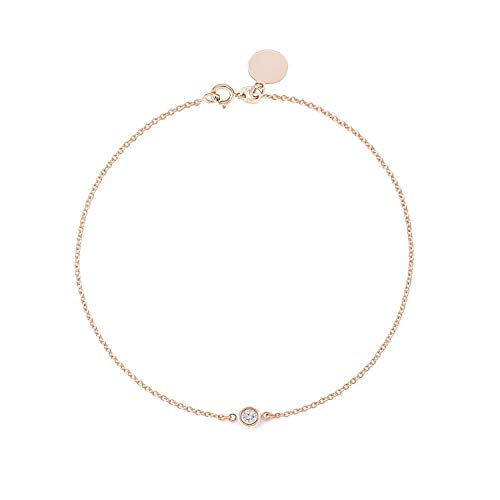 TousiAttar Solitaire Diamond Bracelet- Solid Rose Gold-14K or 18K - Dainty and Simple Solitaire Bezel Set - Free Engraving - Graceful Gift- Minimalist (18k Vs1 Bracelet)