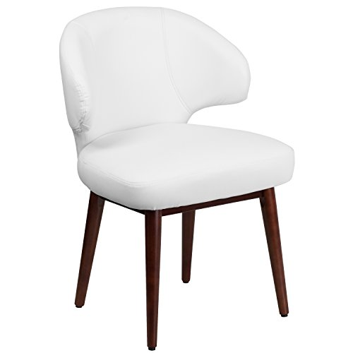 (Flash Furniture Comfort Back Series White Leather Side Reception Chair with Walnut Legs)
