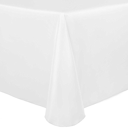 Ultimate Textile (2 Pack) Satin 108 x 156-Inch Rectangular Tablecloth - for Wedding, Special Event or Banquet use, White by Ultimate Textile