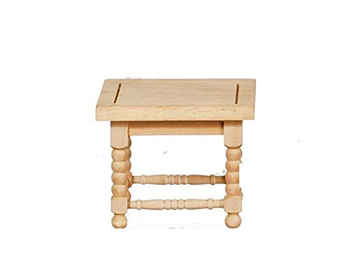 (Melody Jane Dollhouse Square Coffee Table Unfinished Bare Wood Miniature Lounge Furniture )