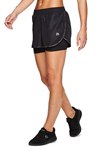 RBX Active Women's Workout Running Shorts with Compression Bike Short S.19 Black M