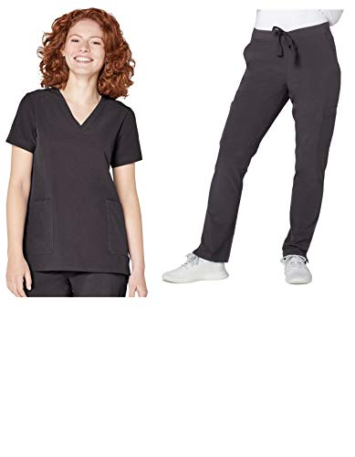 - Adar Addition Scrub Set for Women - V-Neck Scrub Top & Skinny Cargo Scrub Pants - A9200 - Pewter - XS