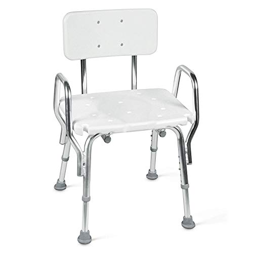 (Tub and Shower Chair with Removable Back Rest, Adjustable Seat and Arms, White)