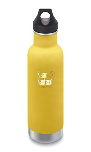Klean Kanteen 20oz Classic Stainless Steel Water Bottle with Klean Coat, Double Wall Vacuum Insulated and Leak Proof Loop Cap - Lemon Curry (New 2018)