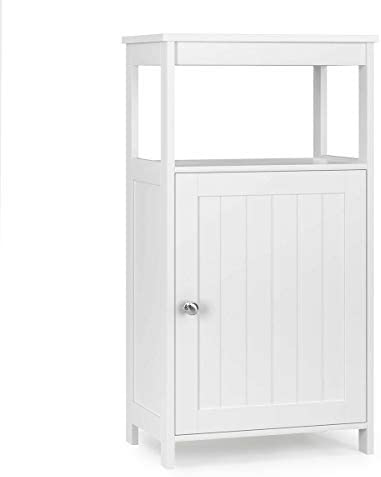 Tangkula Bathroom Floor Storage Cabinet, Multifunctional Free Standing Cabinet with Single Door and Adjustable Shelf, Side Cabinet for Home Living Room Bedroom Office Hotel White