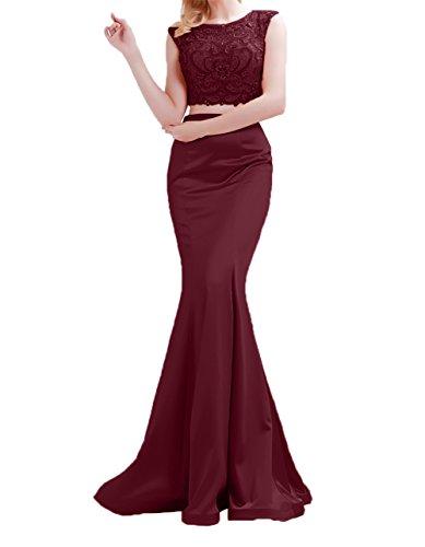 Lang Kleider Jugendweihe Meerjungfrau Charmant teilig Damen Abschlussballkleider Abendkleider Zwei Burgundy Ballkleider 0xfxp5nqw6