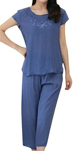 Linen Capri Set - Lutratocro Women's Short Sleeve Top +Capri Pants Cotton Linen Pajama Set Homewear 1 M