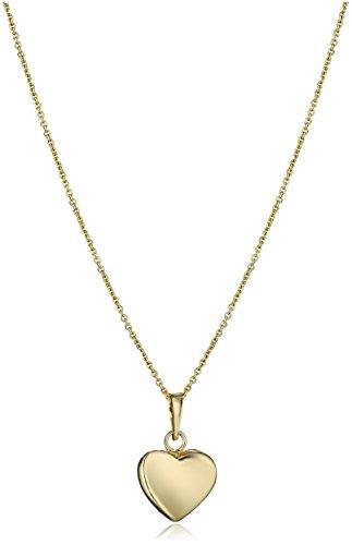 Gold Italian Heart - 14k Yellow Gold Italian Heart Pendant Necklace, 18
