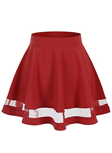 Wedtrend Women's Basic Versatile Stretchy A-line Flared Mini Skirt WTC10021RedXL