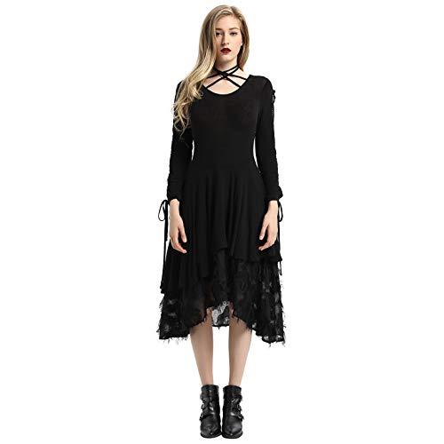 Women Gothic Dress Steampunk Victorian Lace Tie Neck