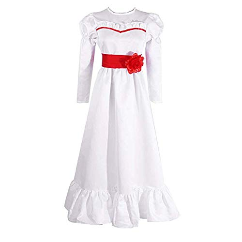 Mocona Women's Annabelle Role Play Costume Horror Scary Party White Dress (Large, White)]()