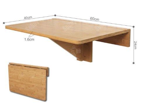 Sobuy® tavolo da muro, tavolo da parete in 100% bambù, senza sedia ...