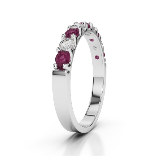 Or blanc 18 carats 1/2 ct G-H/VS Certifié Coupe ronde Rubis et diamants Agdr-1108