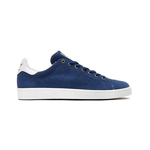 Adidas, Unisex adulto, Stan Smith Vulc Mystery Blue White Matte Gold, Suede, Sneakers, Blu