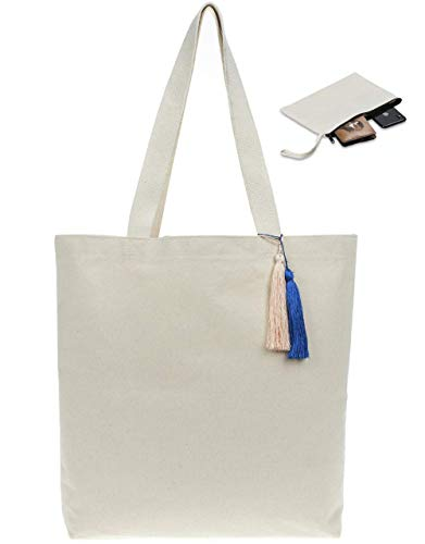 Canvas Tote Bag for Women-Large Beach Bag-Reusable Shopping,Grocery Tote Bags-%100 Organic Cotton Canvas-Travel,Shoulder,Gym,School,Book,Handbag,Pool Tote Much More-(Washable)-GIFT ZIPPERED HAND POUCH