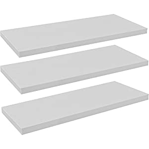 Harbour Housewares Pack of 3 Floating Wooden Wall Shelves 120cm – White
