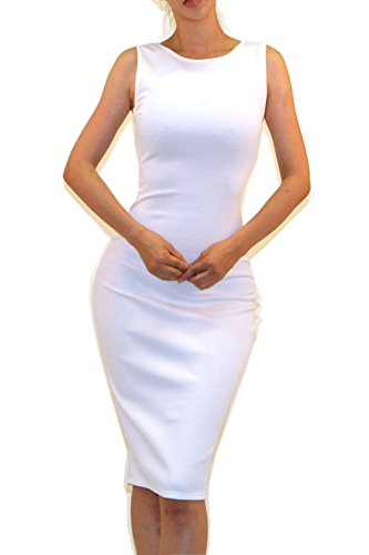 Ivory Cocktail Dresses - Vivicastle Women's Sleeveless Sexy Bodycon Cocktail Pencil Midi Dress (Large, FF31, Ivory)