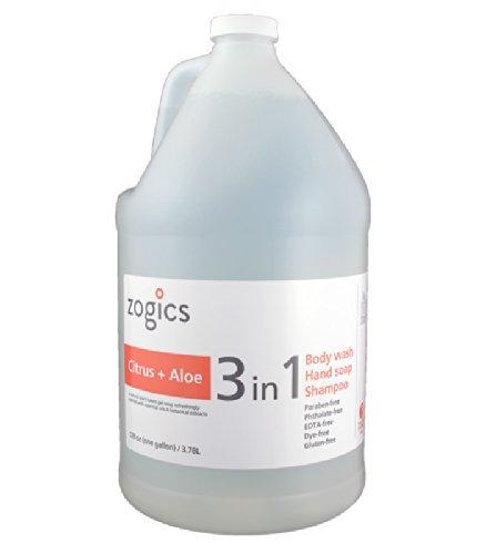 Zogics Body Wash, Shampoo and Hand Soap, Citrus + Aloe Scented 3 in 1 Liquid Soap Gallon (1 Gallon Refill)