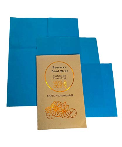 Beeswax Wraps Food Storage Sheets-Biodegradable/Eco-Friendly 100% Cotton Covered with Natures Goodness-Non-Plastic Reusable Washable Kitchenware-3 Pack Set Small/Medium/Large Dish Sizes-Ocean Blue