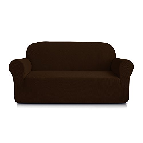 Loveseat Wide (Subrtex 1-Piece Spandex Stretch Sofa Slipcover (Loveseat, Chocolate))