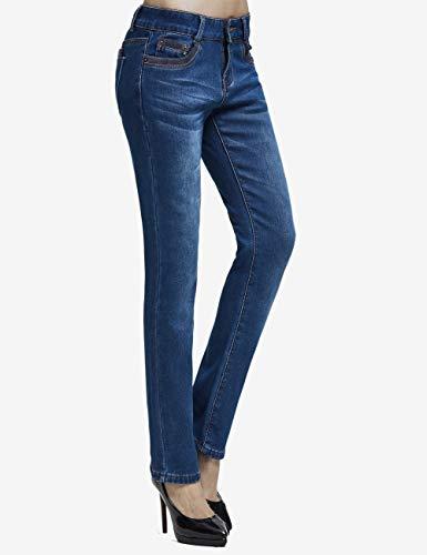 Größe Inverno Skinny Camii neue Jeans Pantaloni Mia Donna Foderato Fit Slim Flanella Blau 7qxUTw